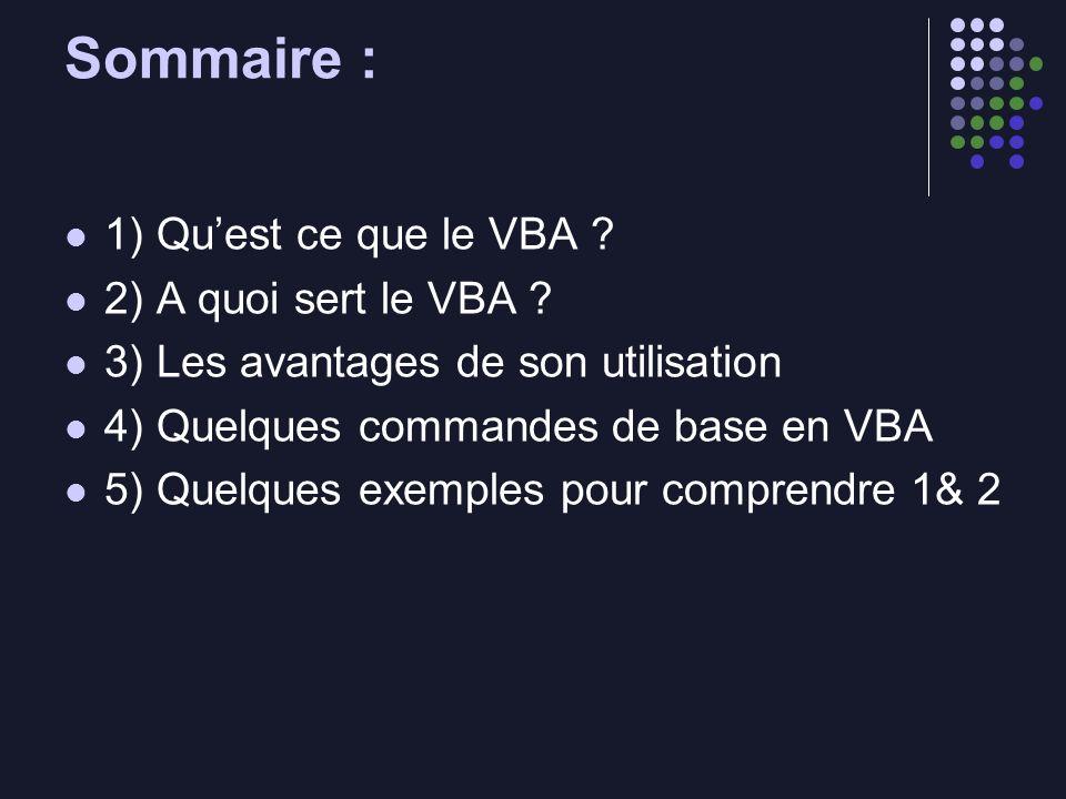 Sommaire : 1) Qu'est ce que le VBA 2) A quoi sert le VBA