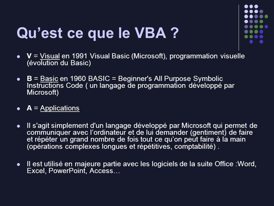 Qu'est ce que le VBA V = Visual en 1991 Visual Basic (Microsoft), programmation visuelle (évolution du Basic)