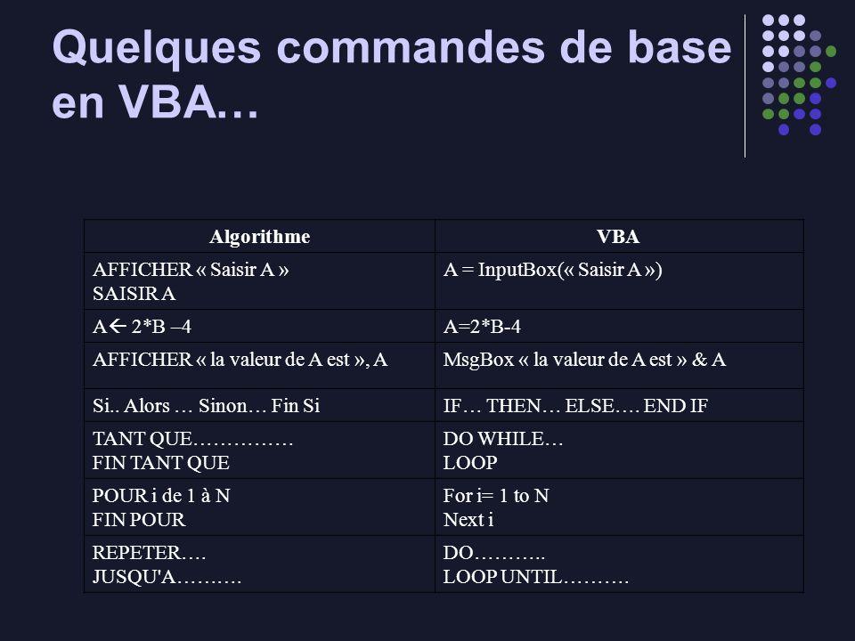 Quelques commandes de base en VBA…