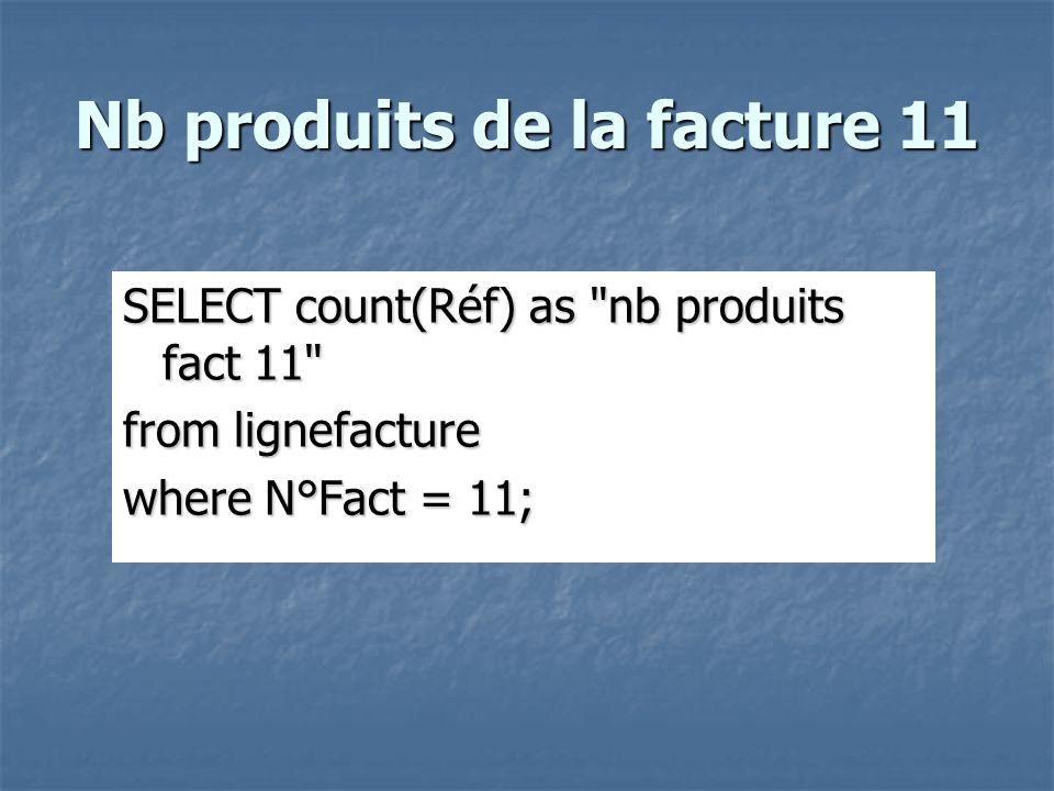 Nb produits de la facture 11