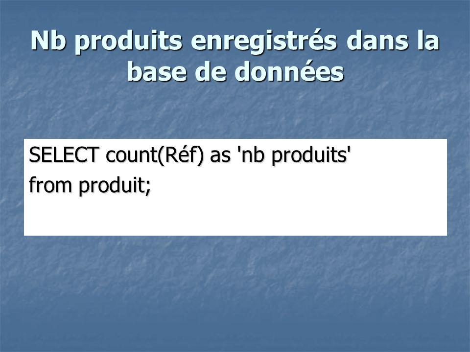 Nb produits enregistrés dans la base de données