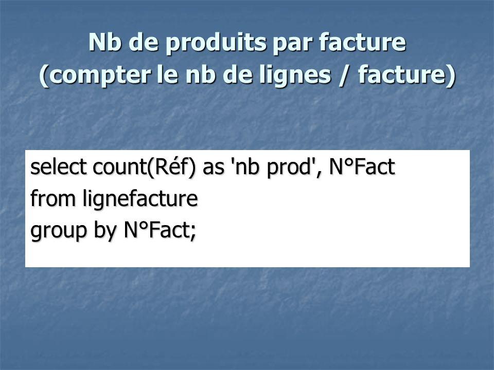 Nb de produits par facture (compter le nb de lignes / facture)