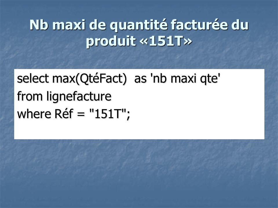 Nb maxi de quantité facturée du produit «151T»