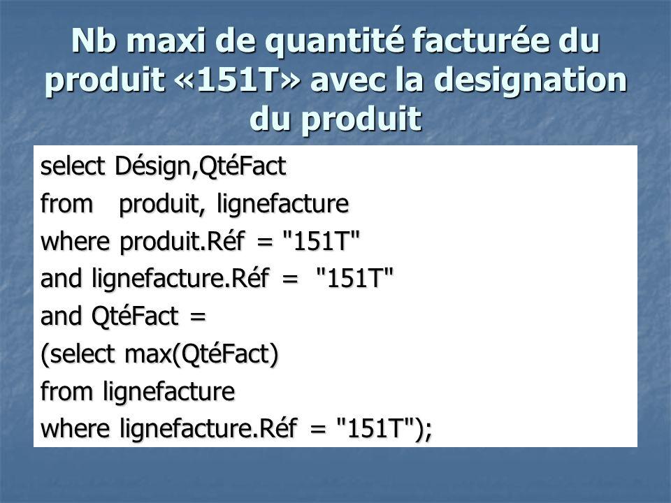 Nb maxi de quantité facturée du produit «151T» avec la designation du produit