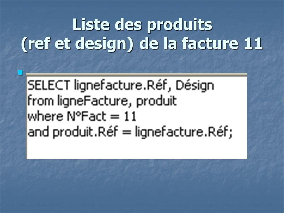 Liste des produits (ref et design) de la facture 11