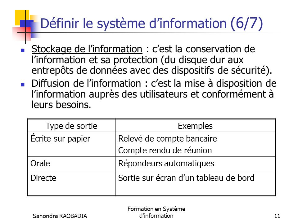 Définir le système d'information (6/7)