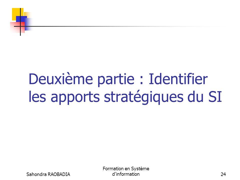 Deuxième partie : Identifier les apports stratégiques du SI