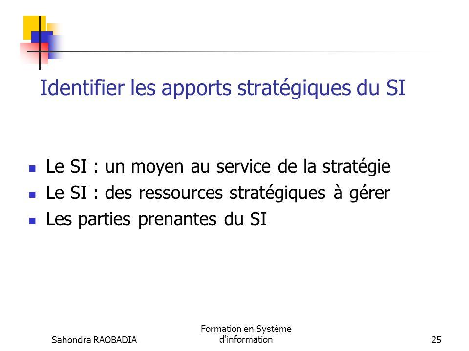 Identifier les apports stratégiques du SI
