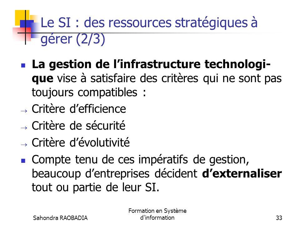 Le SI : des ressources stratégiques à gérer (2/3)