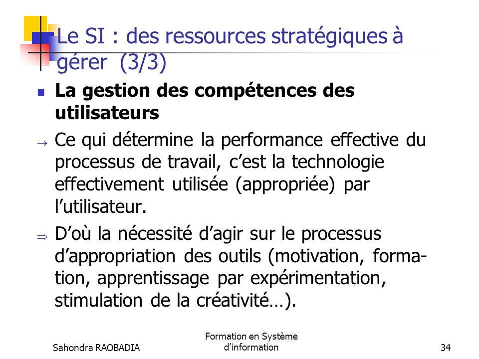 Le SI : des ressources stratégiques à gérer (3/3)