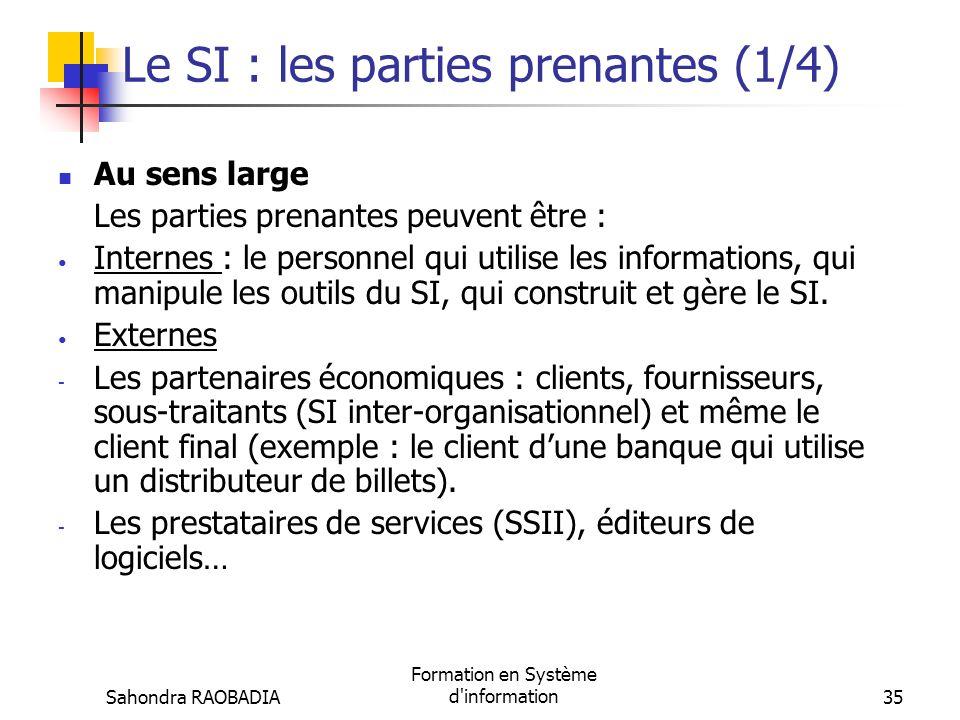 Le SI : les parties prenantes (1/4)