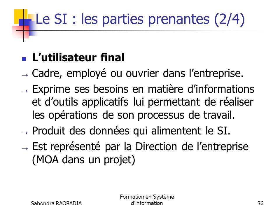 Le SI : les parties prenantes (2/4)