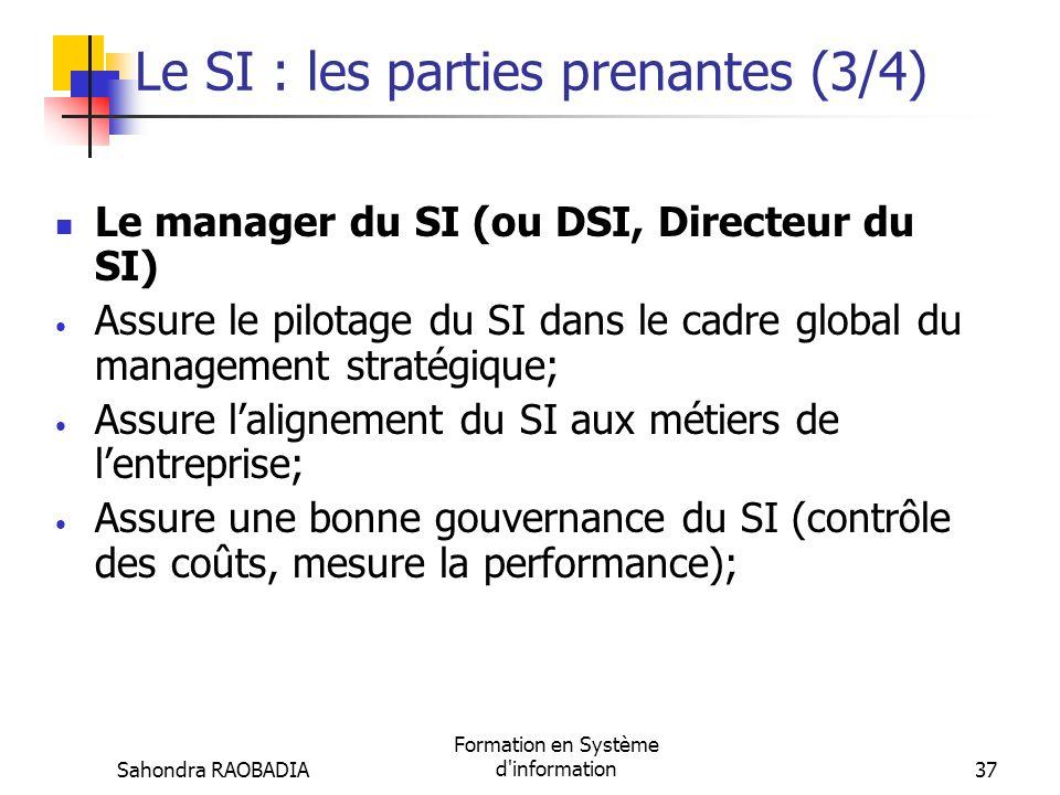 Le SI : les parties prenantes (3/4)