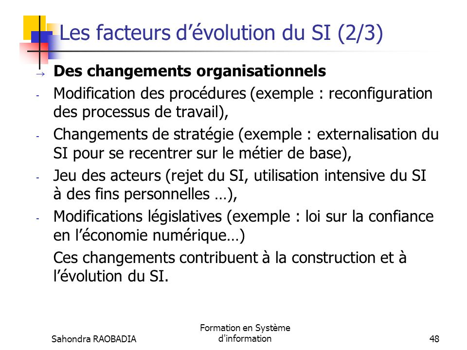 Les facteurs d'évolution du SI (2/3)