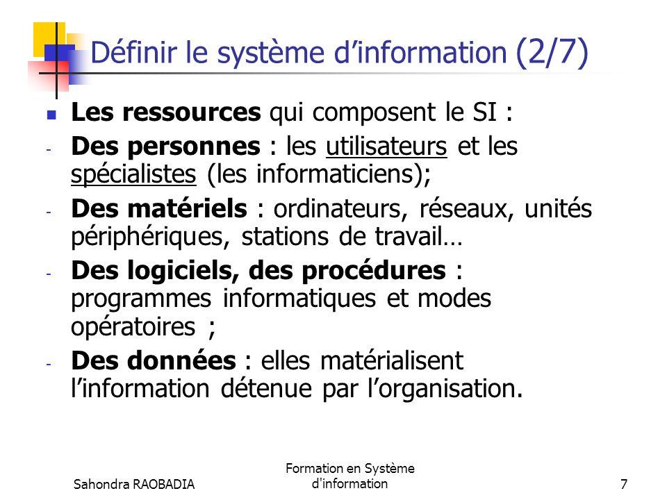 Définir le système d'information (2/7)