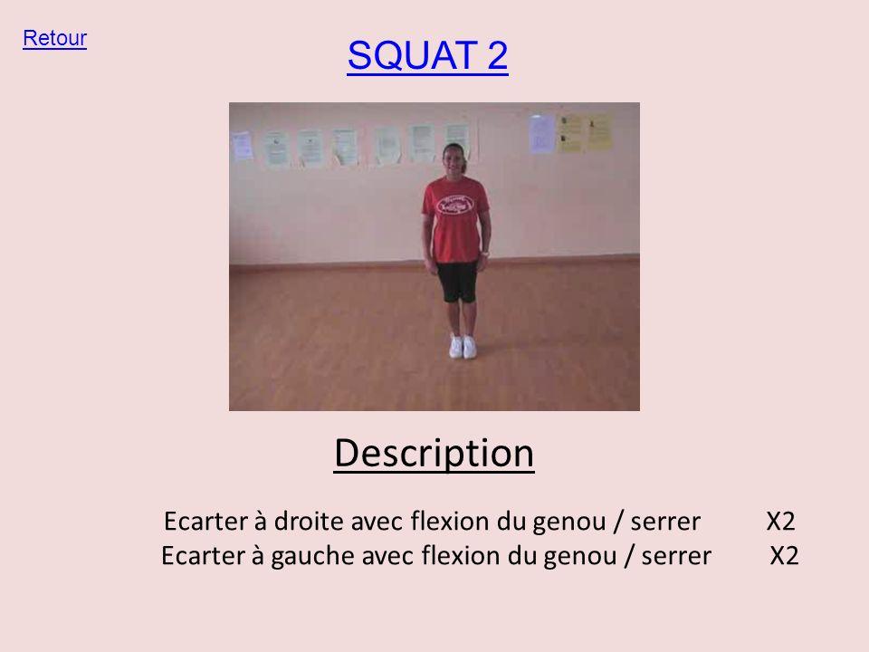 Description SQUAT 2 Ecarter à droite avec flexion du genou / serrer X2
