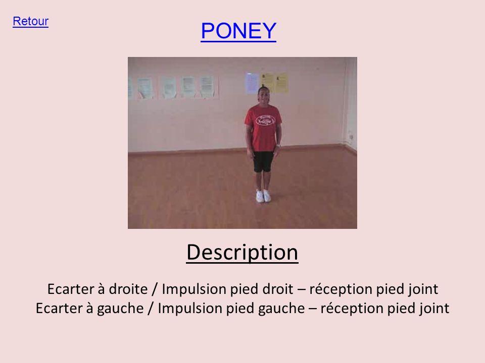 Retour PONEY. Description. Ecarter à droite / Impulsion pied droit – réception pied joint.
