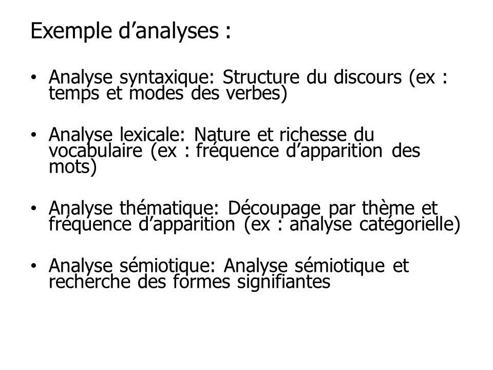 Exemple d'analyses : Analyse syntaxique: Structure du discours (ex : temps et modes des verbes)