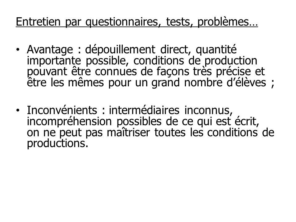 Entretien par questionnaires, tests, problèmes…