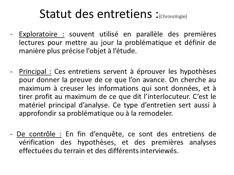Statut des entretiens :(Chronologie)