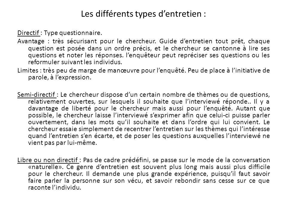 Les différents types d'entretien :