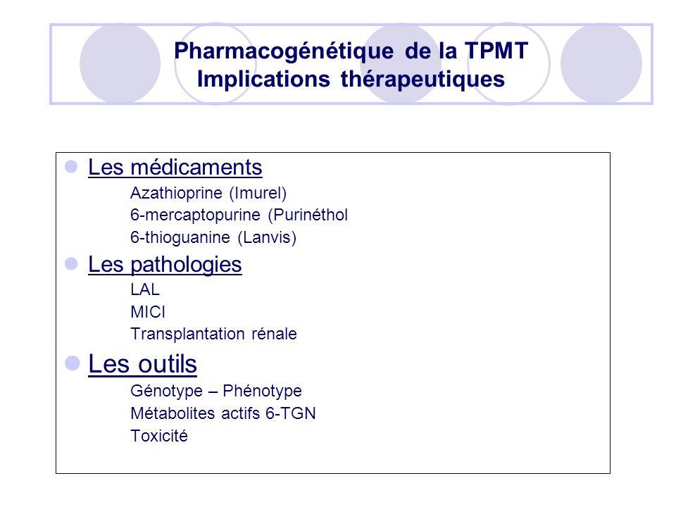 Pharmacogénétique de la TPMT Implications thérapeutiques
