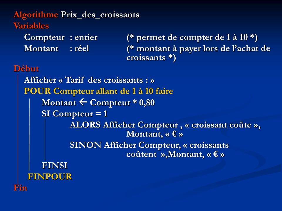 Algorithme Prix_des_croissants