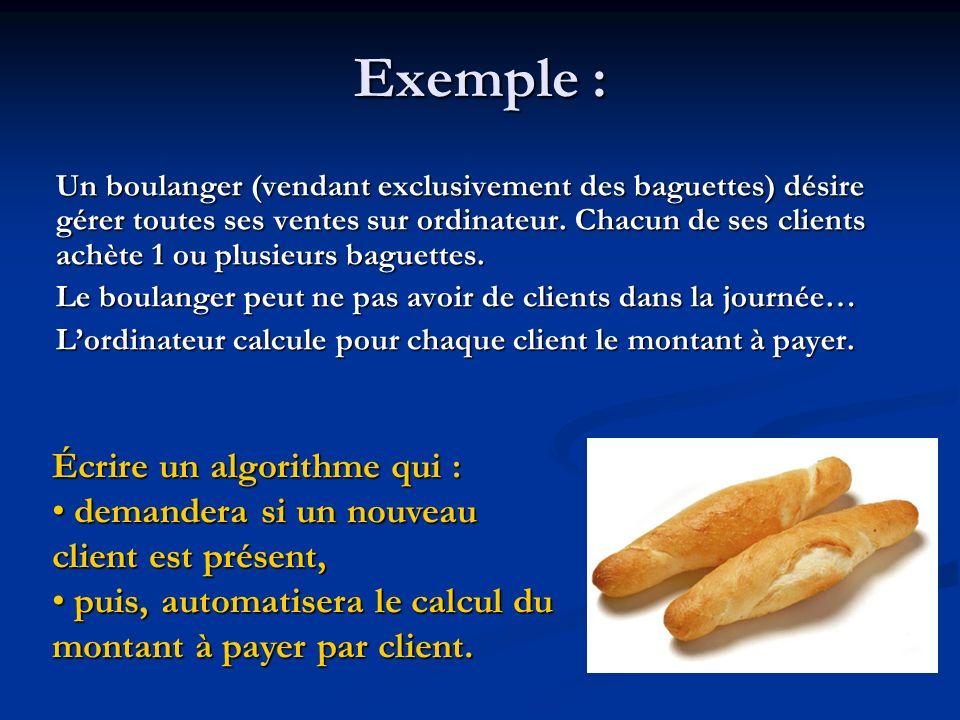 Exemple : Écrire un algorithme qui :