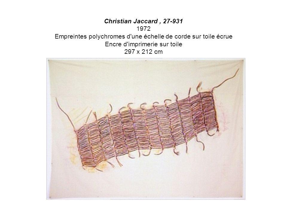 Christian Jaccard , 27-931 1972 Empreintes polychromes d une échelle de corde sur toile écrue Encre d imprimerie sur toile 297 x 212 cm