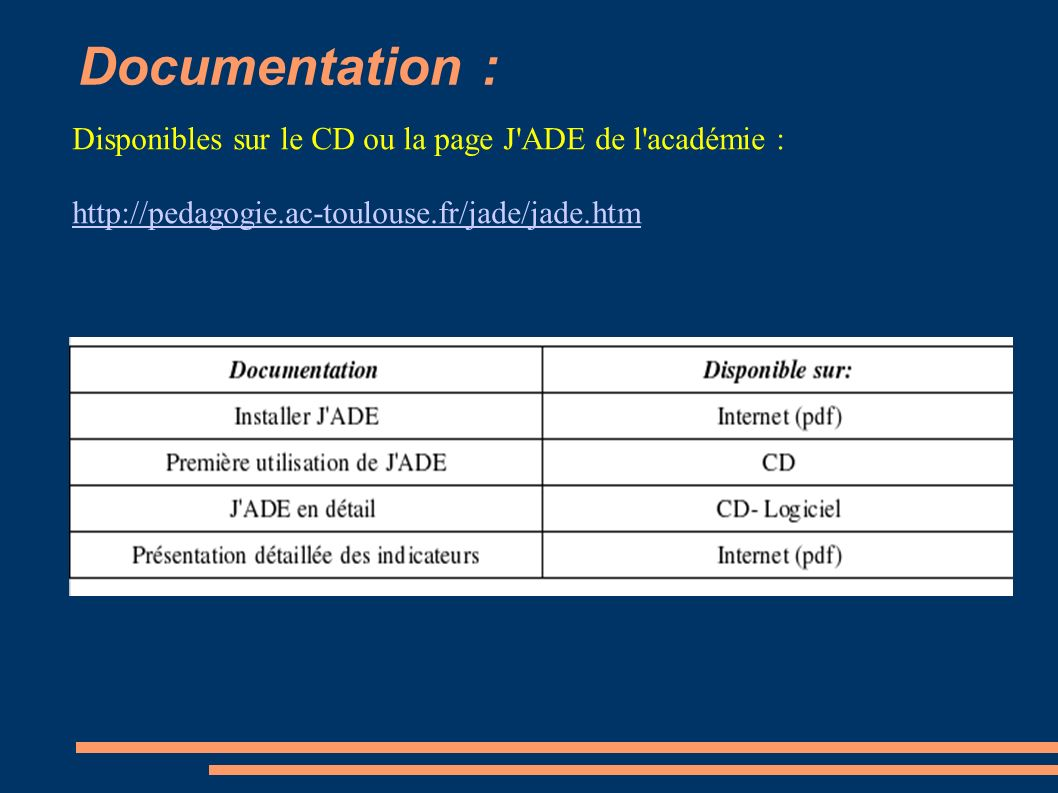 Documentation : Disponibles sur le CD ou la page J ADE de l académie :