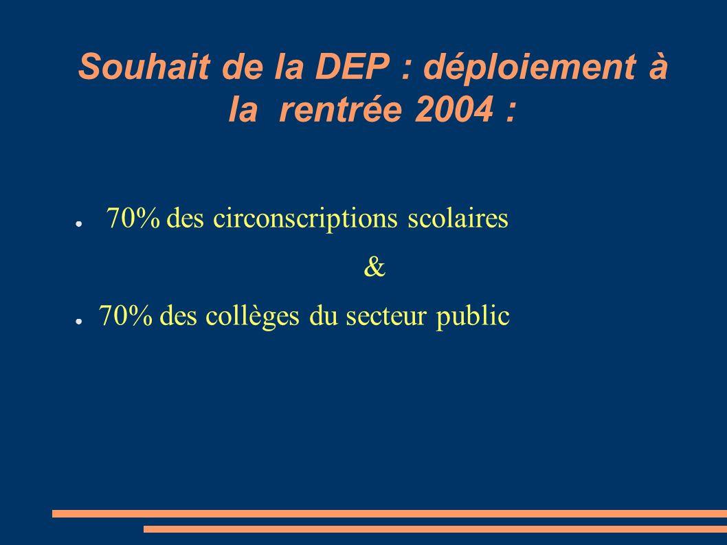 Souhait de la DEP : déploiement à la rentrée 2004 :