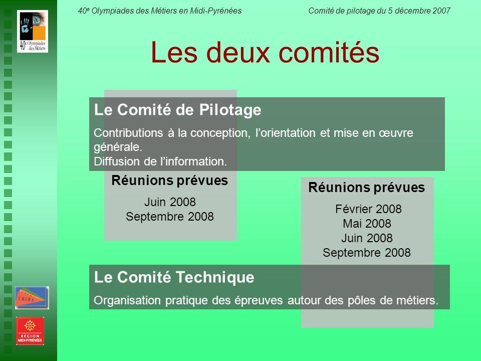 Les deux comités Le Comité de Pilotage Le Comité Technique