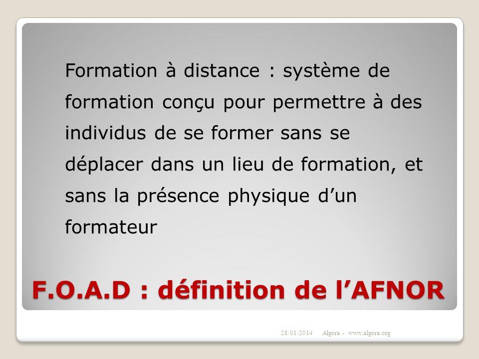 F.O.A.D : définition de l'AFNOR