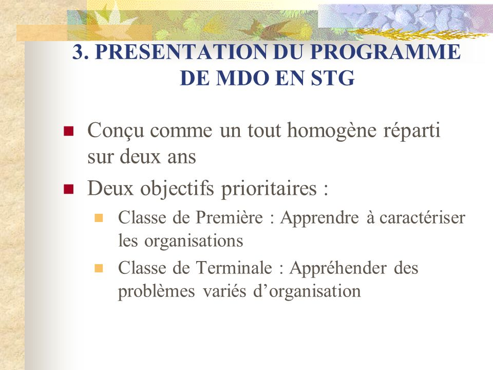 3. PRESENTATION DU PROGRAMME DE MDO EN STG