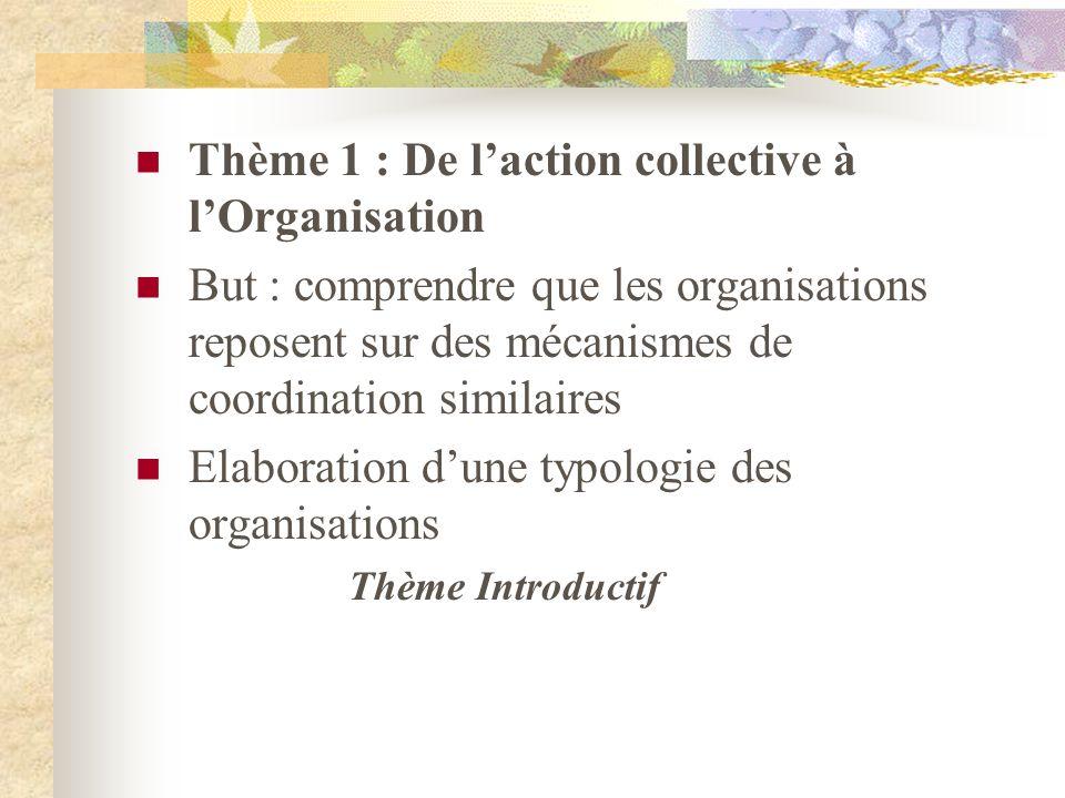 Thème 1 : De l'action collective à l'Organisation