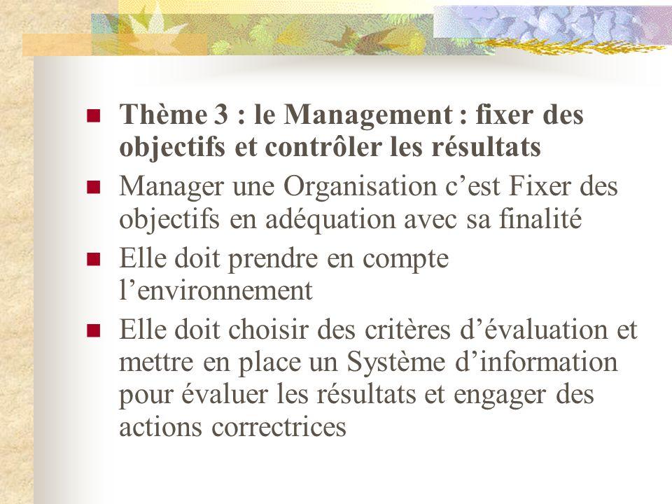 Thème 3 : le Management : fixer des objectifs et contrôler les résultats