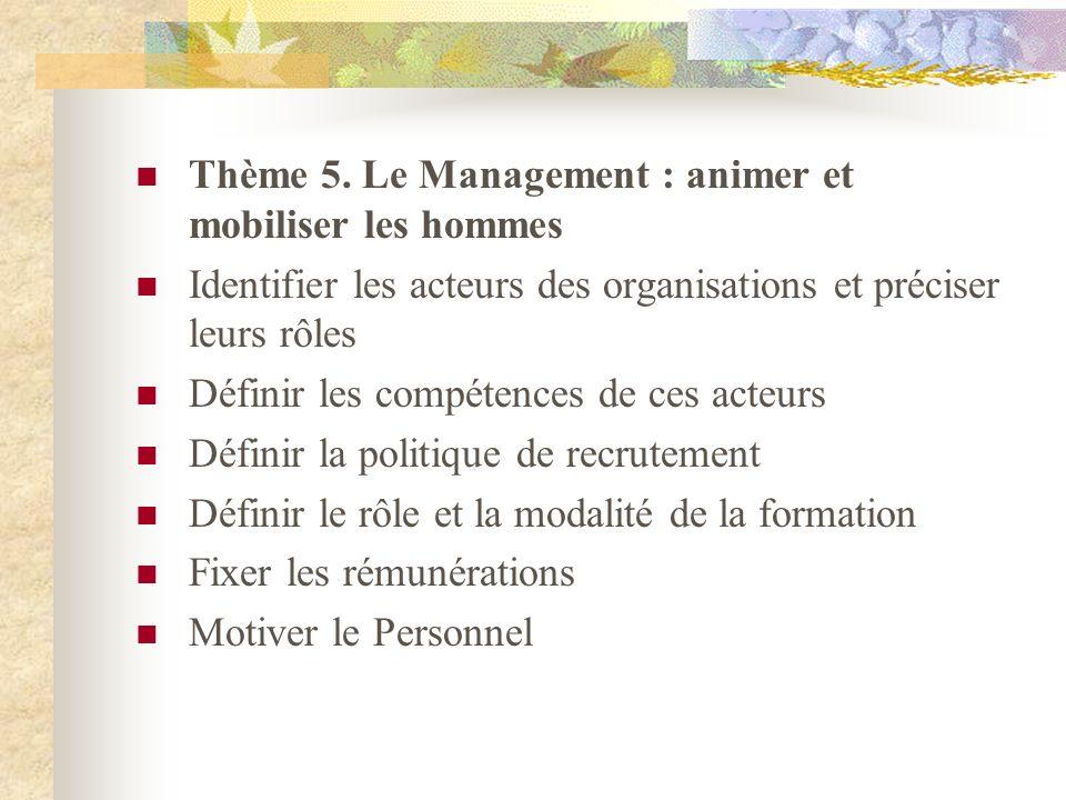 Thème 5. Le Management : animer et mobiliser les hommes