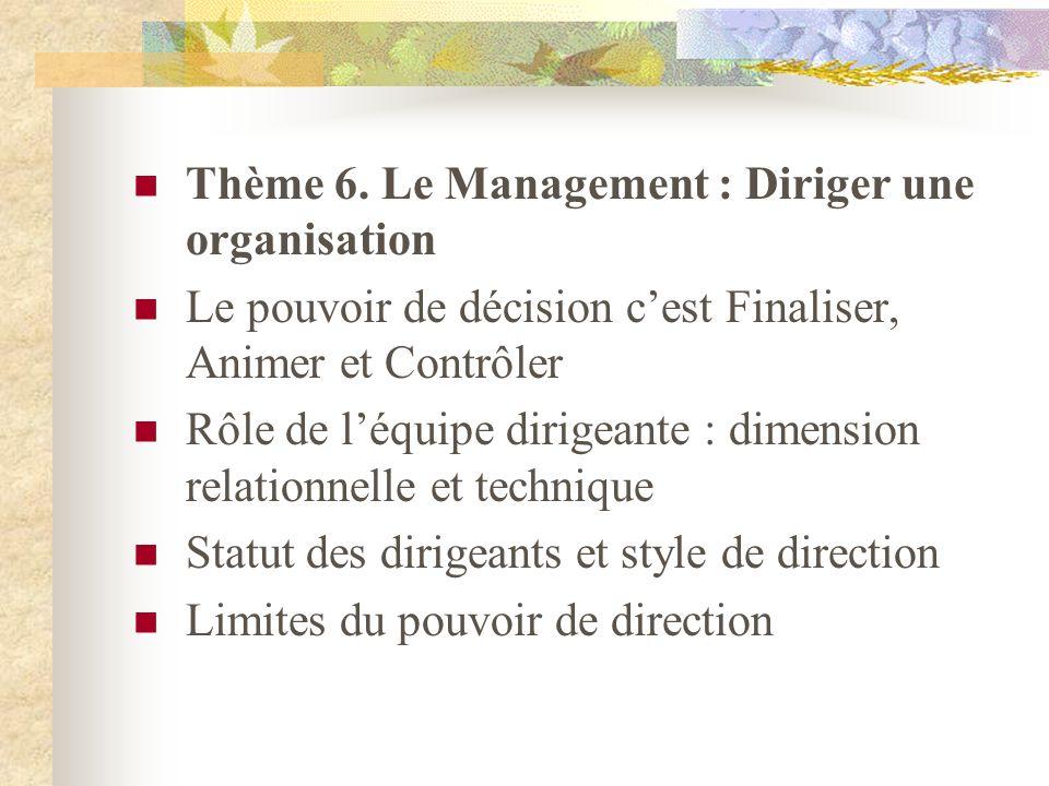 Thème 6. Le Management : Diriger une organisation