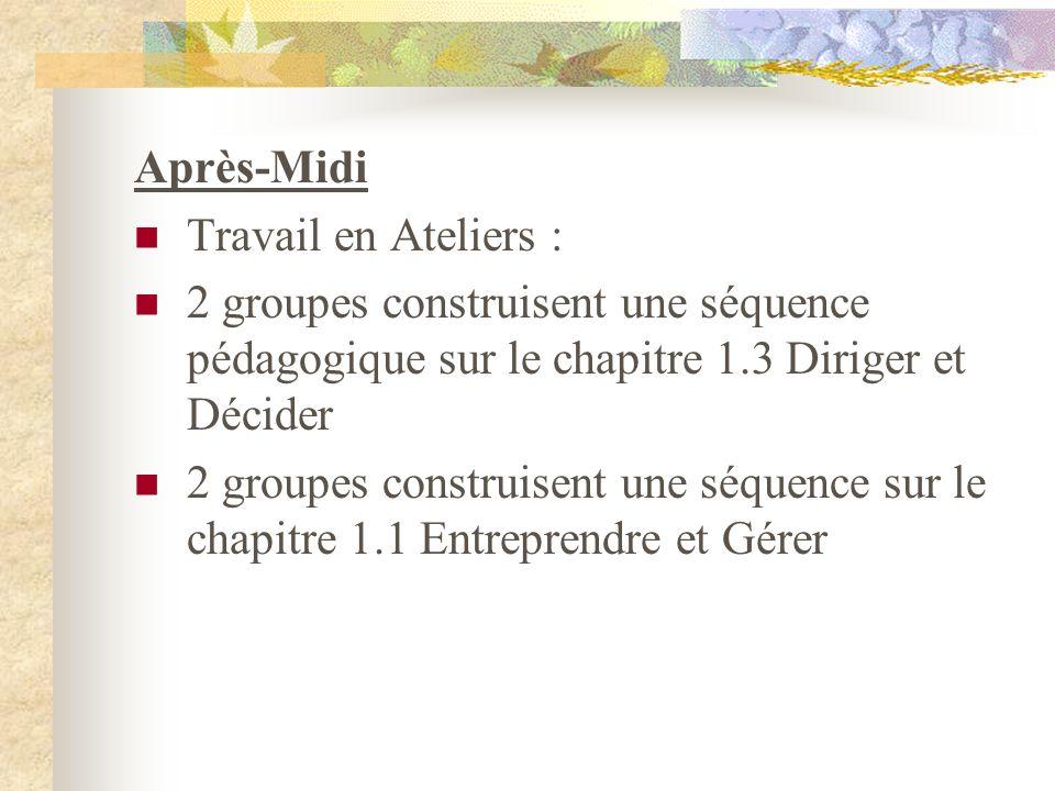 Après-Midi Travail en Ateliers : 2 groupes construisent une séquence pédagogique sur le chapitre 1.3 Diriger et Décider.