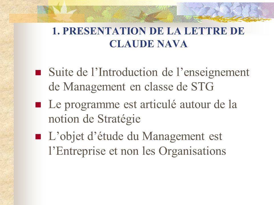 1. PRESENTATION DE LA LETTRE DE CLAUDE NAVA