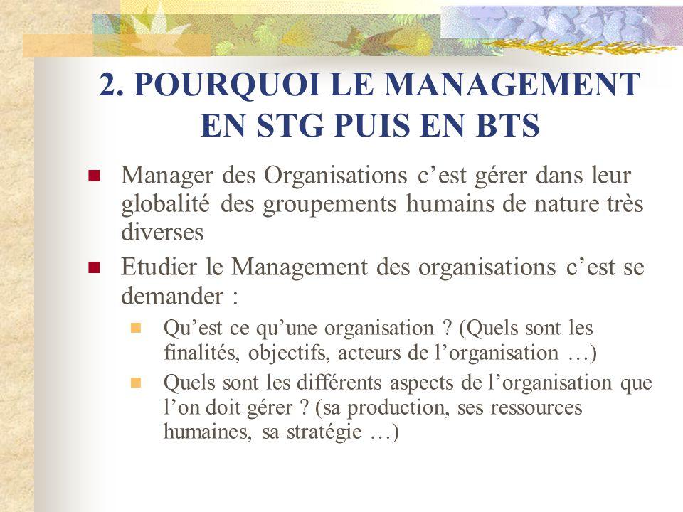 2. POURQUOI LE MANAGEMENT EN STG PUIS EN BTS