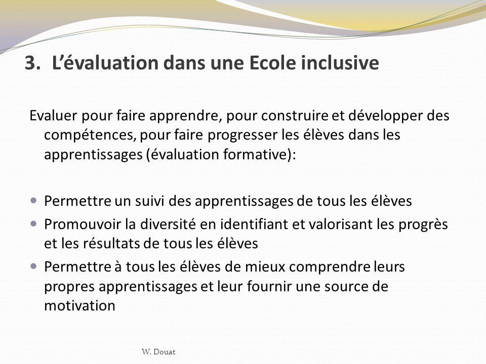 L'évaluation dans une Ecole inclusive