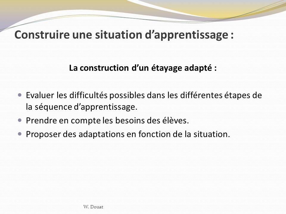 Construire une situation d'apprentissage :