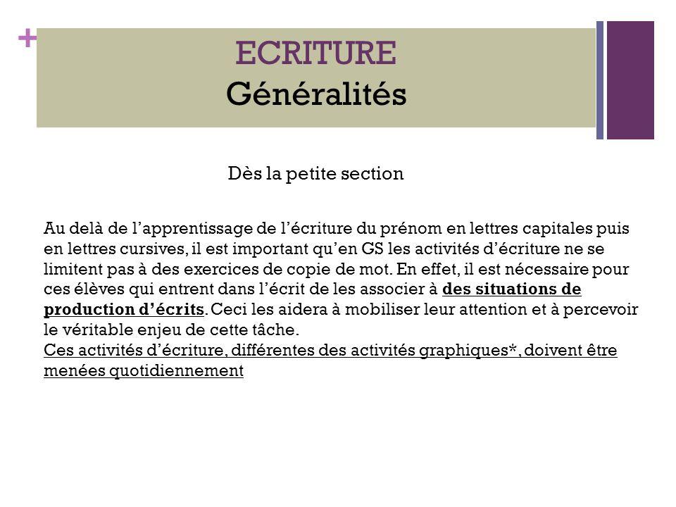 ECRITURE Généralités Dès la petite section