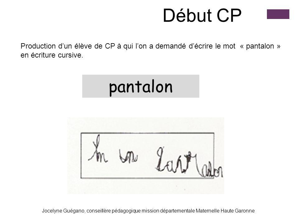 Début CP Production d'un élève de CP à qui l'on a demandé d'écrire le mot « pantalon » en écriture cursive.