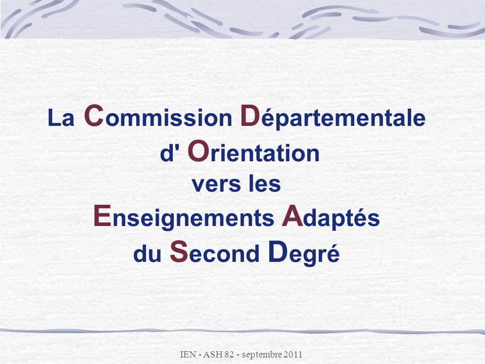 La Commission Départementale d Orientation vers les Enseignements Adaptés du Second Degré