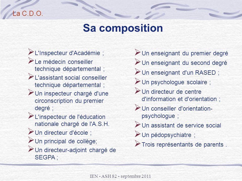 Sa composition La C.D.O. L Inspecteur d Académie ;