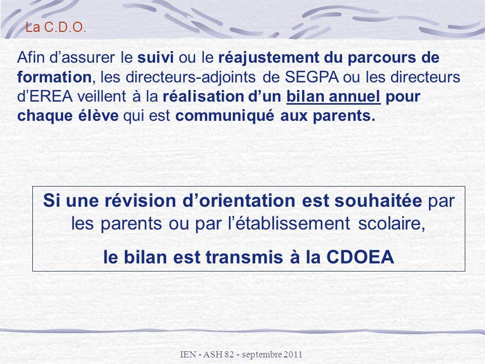 le bilan est transmis à la CDOEA