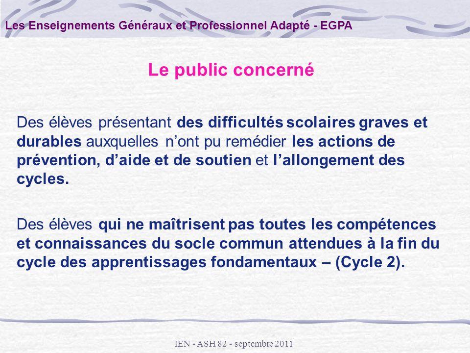 Les Enseignements Généraux et Professionnel Adapté - EGPA