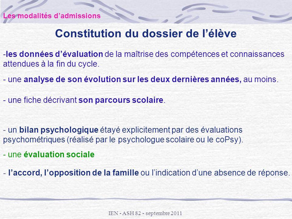 Constitution du dossier de l'élève